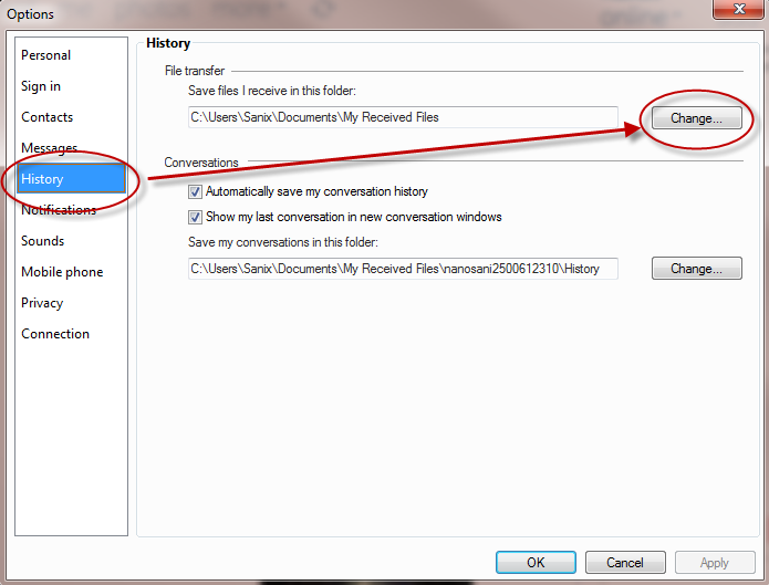 How To Change Default Save Files Location In Windows Live Messenger 2011