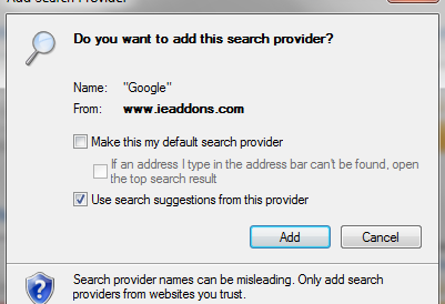 Add Search Providers In Internet Explorer 9