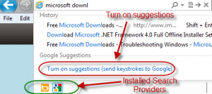 turn on suggestions in IE9