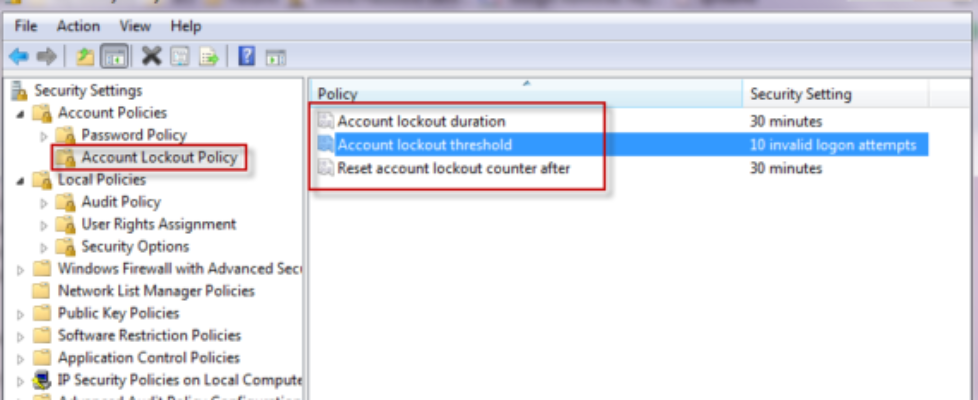 account lockout policy
