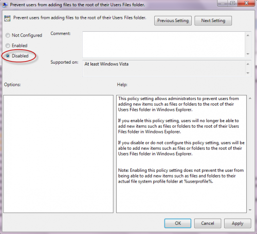 group policy to prevent users from adding files to user root folder