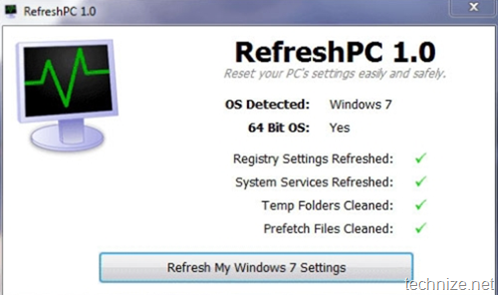 RefreshPC - Restore system to default settings