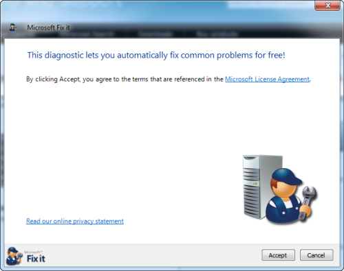 Microsoft fixit accept terms