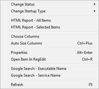 ServiWin context menu