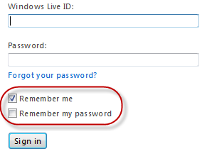 Windows Live sign in checkboxes
