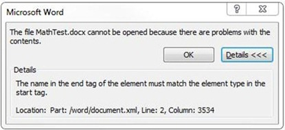 Word Error Message Maths
