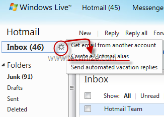 create hotmail email alias
