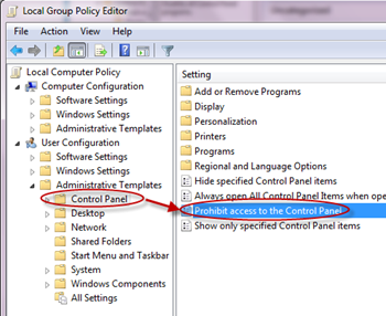 disable the control panel from group policy