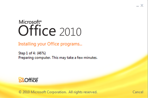 Microsoft Office Starter 2010 loading