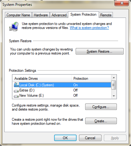 System properties window for configuring Windows 7 automatic backup
