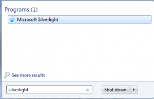 Finding Microsoft Silverlight 5 start menu