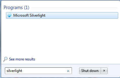 Finding Microsoft Silverlight start menu