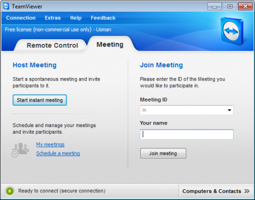 TeamViewer 7 Meeting screen