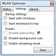 WLAN Optimizer settings to optimize wireless connection