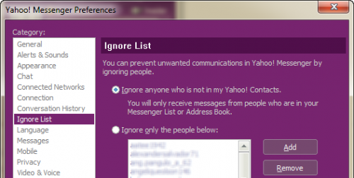 Yahoo Messenger 11.5 spam management
