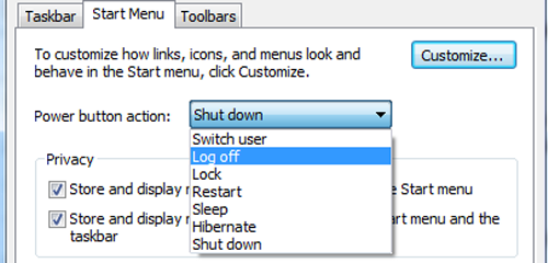 customize the power button in start menu