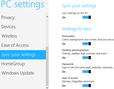 Sync your settings across Windows 8 machines