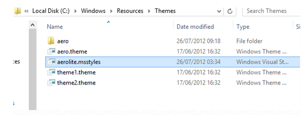 Enable Aero Lite theme in Windows 8