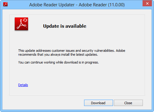 Adobe Reader update available