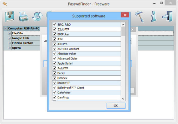 Passwd supported software list