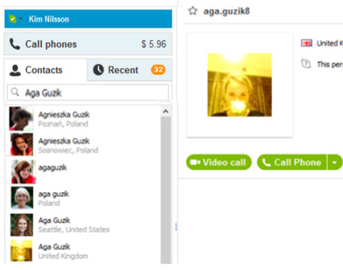 Skype contact add search