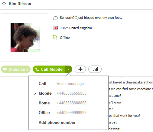 Skype contact information