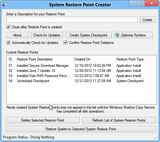 how to use restore point