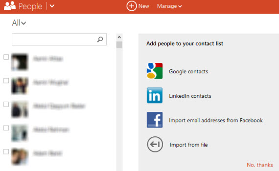 Windows Live contact list on people