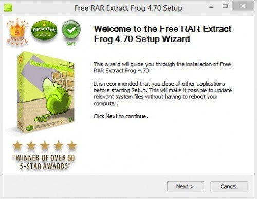 Free RAR Extract Frog Wizard