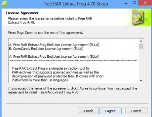 Free RAR Extract Frog license agreement