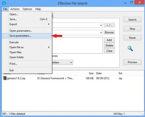 Effective File Search saving search parameters