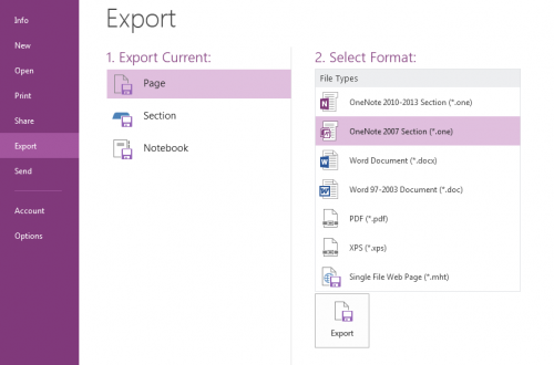OneNote export file