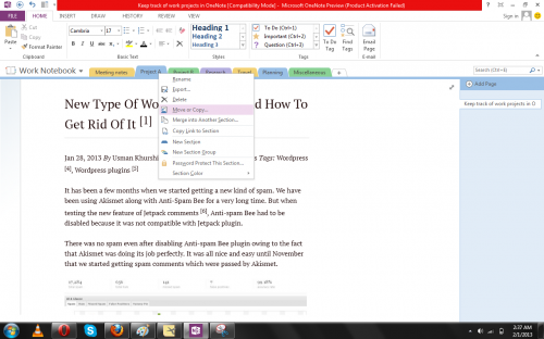 OneNote move
