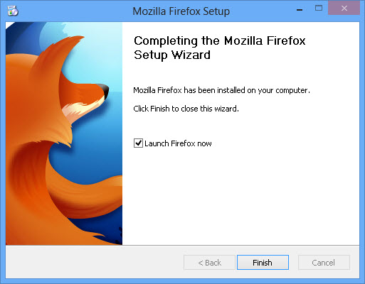 Finish and launch Firefox 19