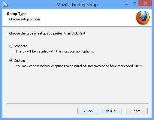 Select setup options in Firefox 19