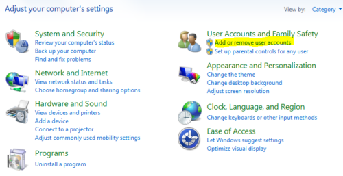 Create family safety account in Windows 8