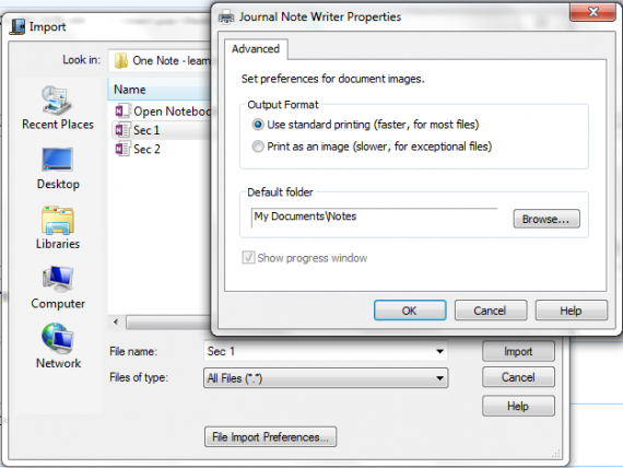 Import Files in Microsoft Windows Journal