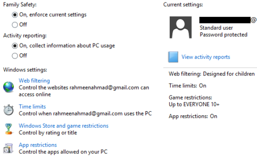 Safety Settings for Windows 8