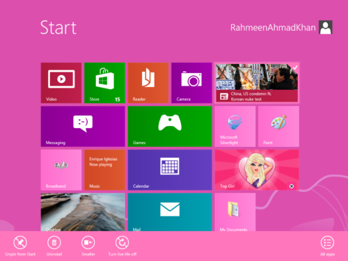 Change tile size in Windows 8 Start Menu