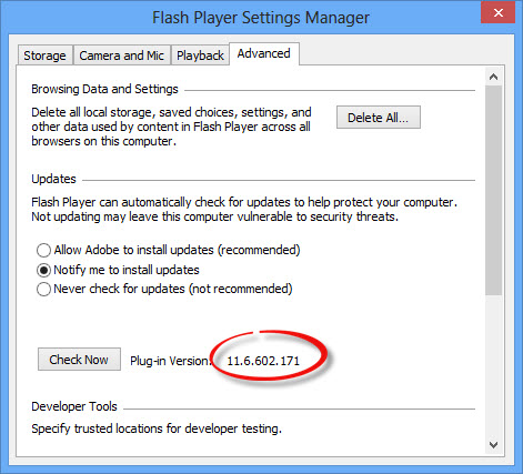 Flash Player 11.7 offline installers update checking