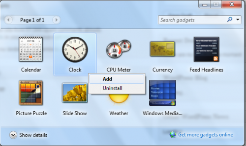 Add multiple clocks as desktop gadget