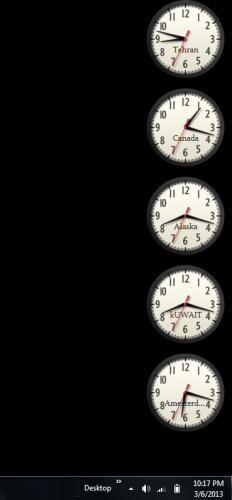 Add multiple clocks as desktop gadgets