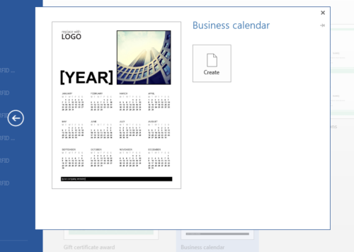 Make Business Calendar with word 2013