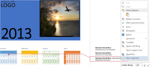 Add task in calendar word 2013