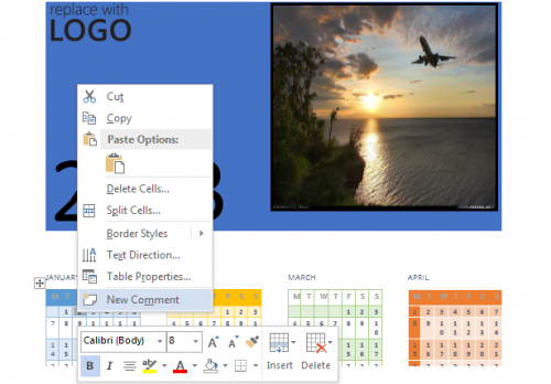 Add Task in Business Calender Word 2013