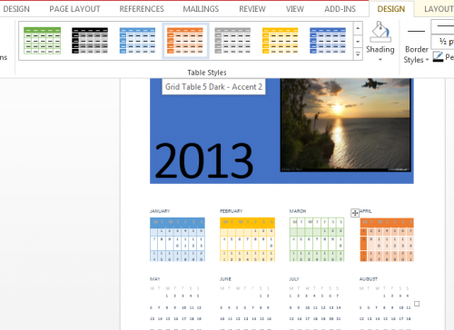 Design Tab in Calendar Word 2013