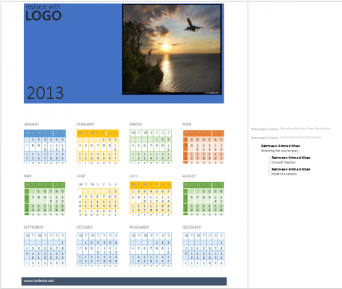 Business Calendar with Word 2013