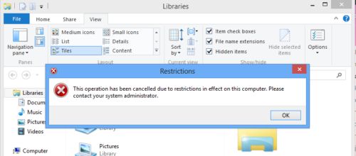 disable folder option view in file explorer