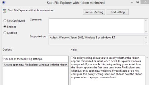 Minimize the Ribbon Bar in File Explorer