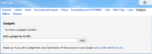 Add any gadget by url in gmail